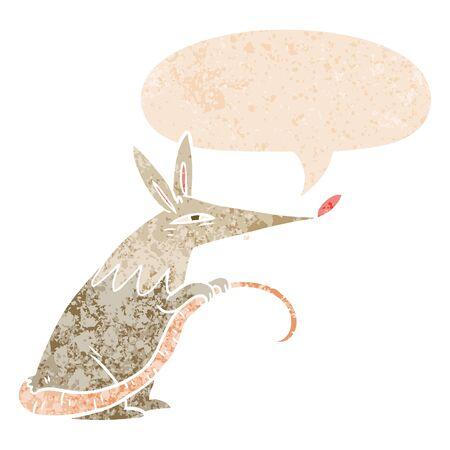 cartoon rat with speech bubble in grunge distressed retro textured style Illustration