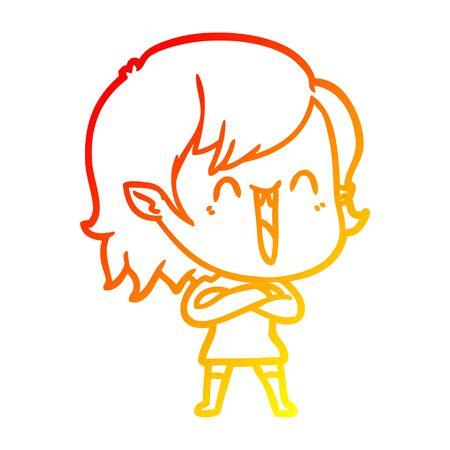 warm gradient line drawing of a cute cartoon happy vampire girl