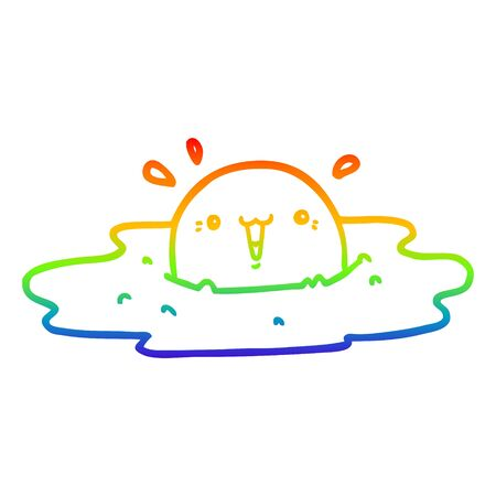 rainbow gradient line drawing of a cute cartoon fried egg
