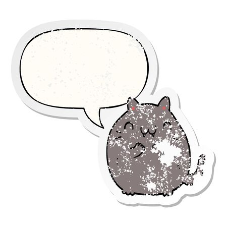happy cartoon cat with speech bubble distressed distressed old sticker Çizim