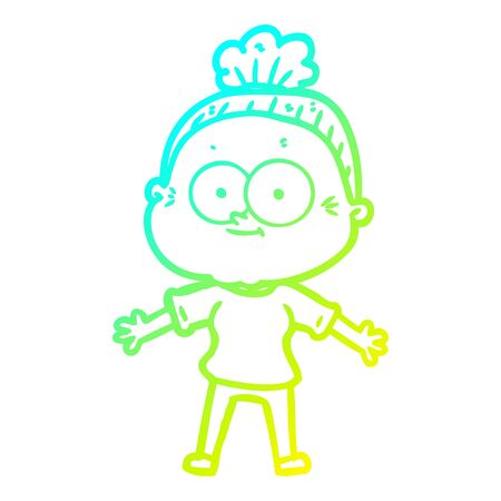 cold gradient line drawing of a cartoon happy old woman 일러스트