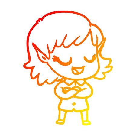 warm gradient line drawing of a happy cartoon elf girl 일러스트