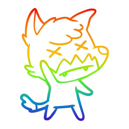 rainbow gradient line drawing of a cartoon dead fox