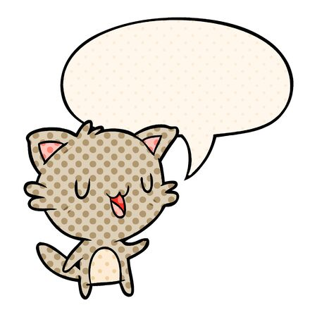 cartoon happy cat with speech bubble in comic book style Çizim