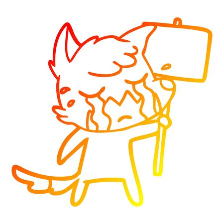 warm gradient line drawing of a crying fox cartoon with placard Çizim