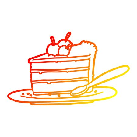 warm gradient line drawing of a expensive slice of chocolate cake 向量圖像
