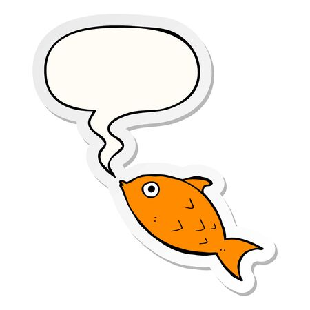 cartoon fish with speech bubble sticker