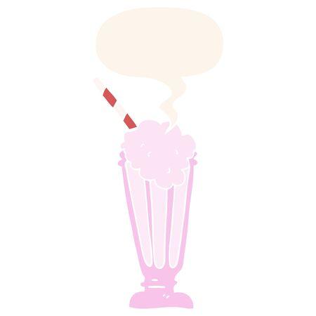 cartoon milkshake with speech bubble in retro style Illusztráció