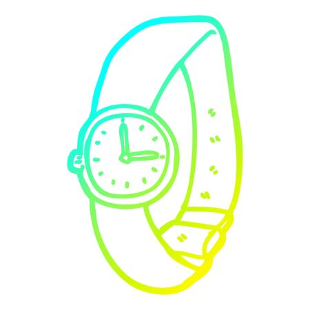cold gradient line drawing of a cartoon wrist watch