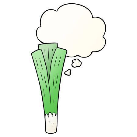 cartoon leek with thought bubble in smooth gradient style