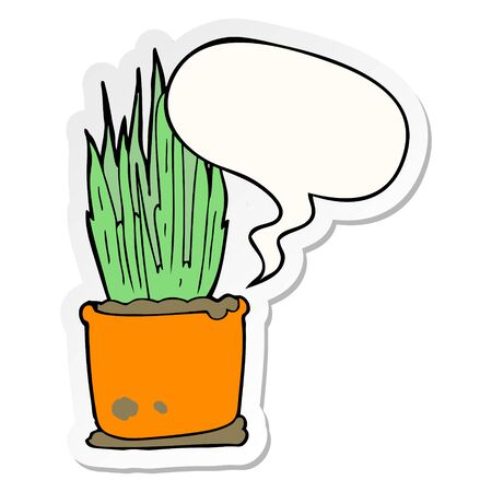 cartoon house plant with speech bubble sticker