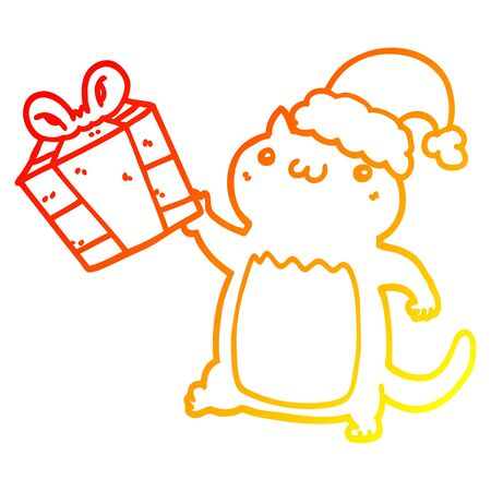 warm gradient line drawing of a cute cartoon christmas cat