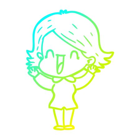 cold gradient line drawing of a cartoon happy woman