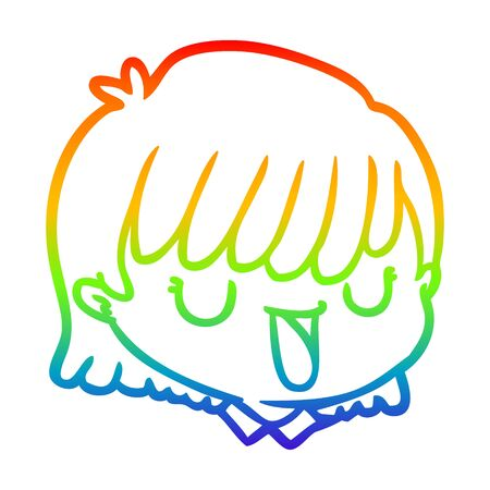 rainbow gradient line drawing of a cartoon female face