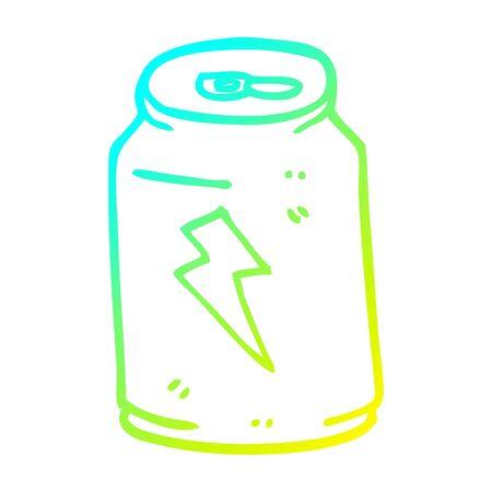 cold gradient line drawing of a cartoon energy drink Illusztráció