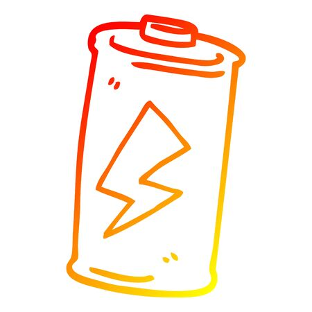 warm gradient line drawing of a cartoon battery