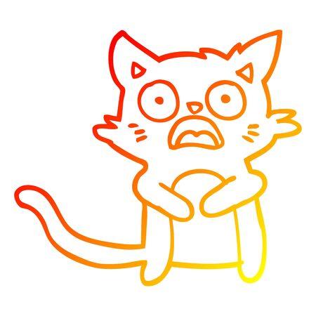 warm gradient line drawing of a cartoon horrified cat Иллюстрация