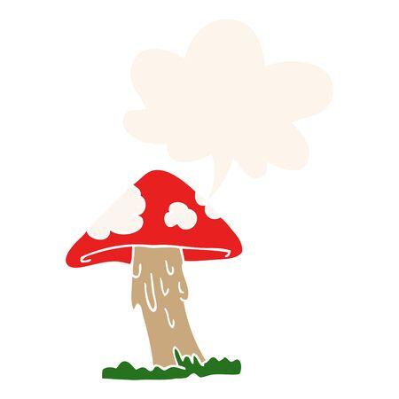 cartoon mushroom with speech bubble in retro style