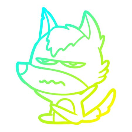 cold gradient line drawing of a cartoon annoyed wolf Çizim