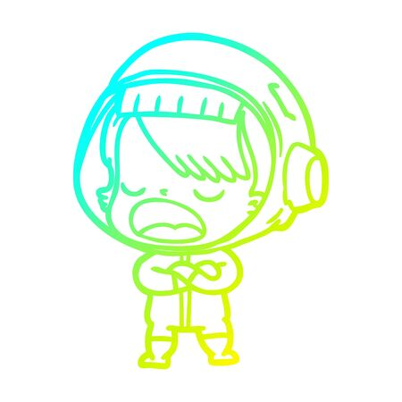 cold gradient line drawing of a cartoon talking astronaut