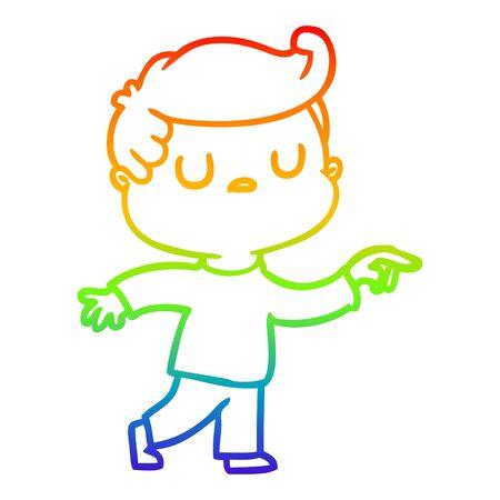 rainbow gradient line drawing of a cartoon aloof man pointing finger 일러스트
