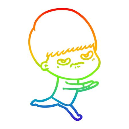 rainbow gradient line drawing of a cartoon angry boy