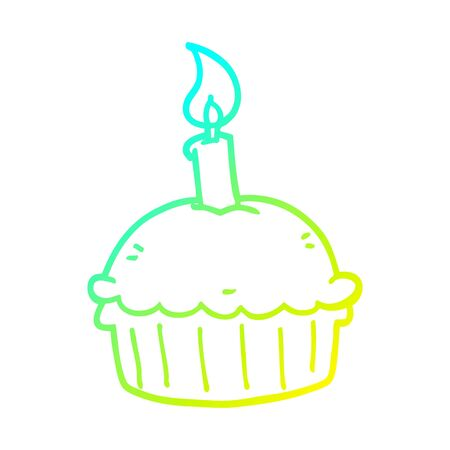 cold gradient line drawing of a cartoon birthday cupcake