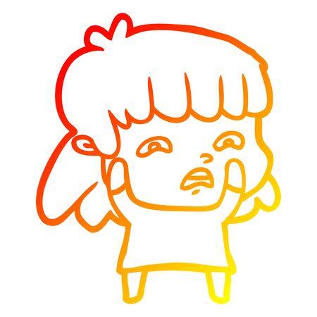 warm gradient line drawing of a cartoon worried woman