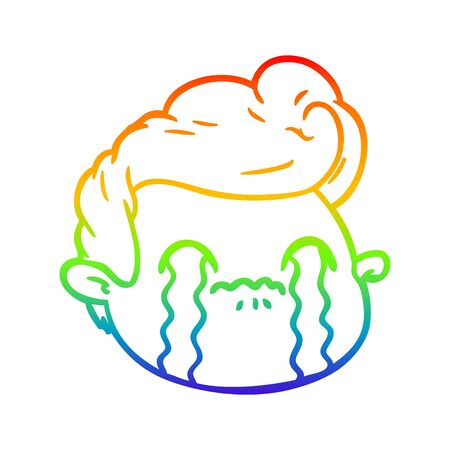 rainbow gradient line drawing of a cartoon crying boy