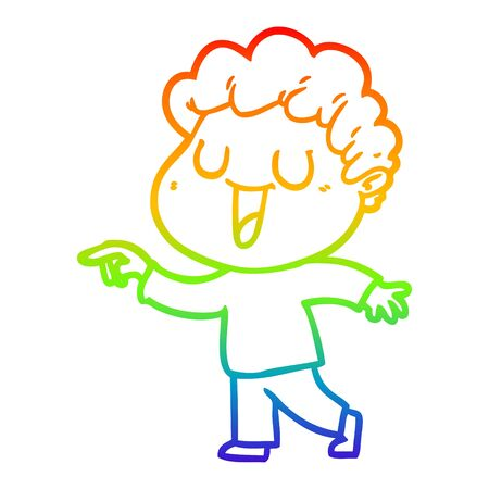 rainbow gradient line drawing of a laughing cartoon man pointing