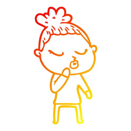 warm gradient line drawing of a cartoon calm woman
