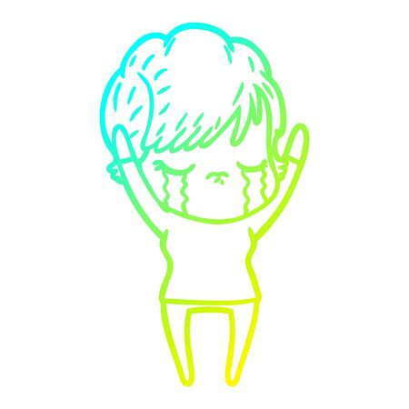 cold gradient line drawing of a cartoon woman crying Ilustrace