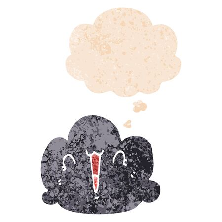 happy cloud cartoon with thought bubble in grunge distressed retro textured style 일러스트