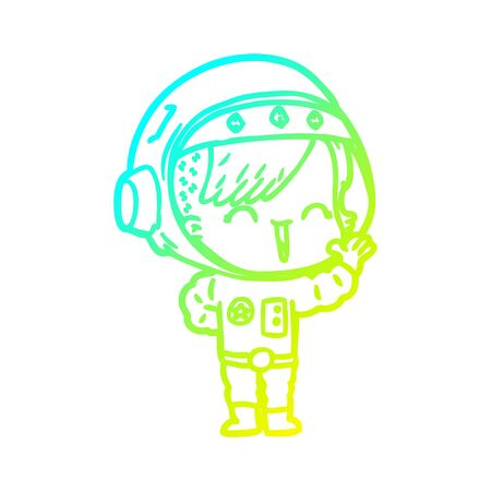 cold gradient line drawing of a cartoon happy astronaut girl waving