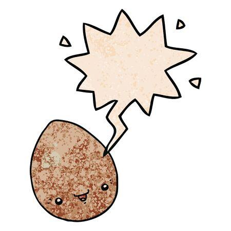 cartoon egg with speech bubble in retro texture style Illusztráció