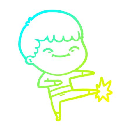 cold gradient line drawing of a cartoon happy boy