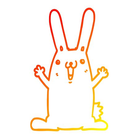 warm gradient line drawing of a cartoon rabbit Çizim