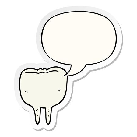 cartoon tooth with speech bubble sticker 向量圖像