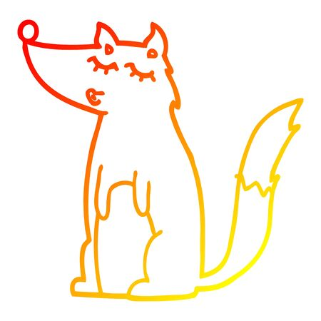 warm gradient line drawing of a cartoon wolf Çizim