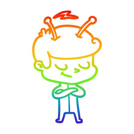 rainbow gradient line drawing of a friendly cartoon spaceman