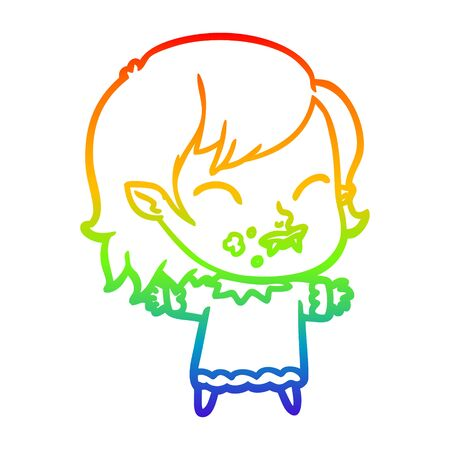 rainbow gradient line drawing of a cartoon vampire girl with blood on cheek Banco de Imagens - 129255663