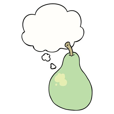 cartoon pear with thought bubble