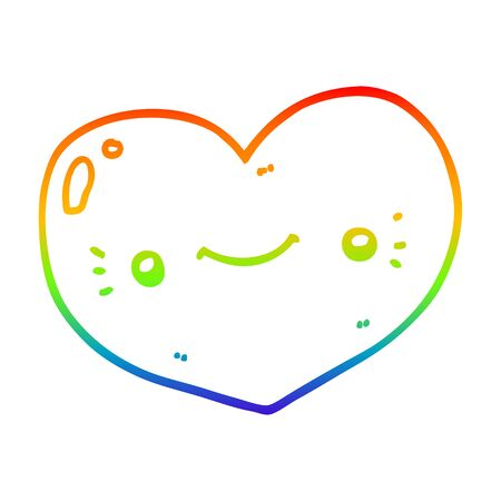 rainbow gradient line drawing of a heart cartoon character