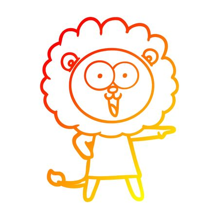 warm gradient line drawing of a happy cartoon lion