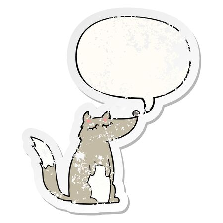 cartoon wolf with speech bubble distressed distressed old sticker Çizim