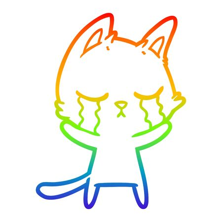 rainbow gradient line drawing of a crying cartoon cat Çizim