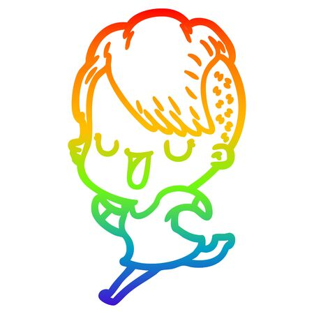 rainbow gradient line drawing of a cute cartoon girl with hipster haircut