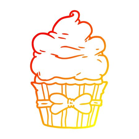 warm gradient line drawing of a cartoon fancy cupcake Иллюстрация