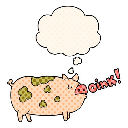 cartoon oinking pig with thought bubble in comic book style Çizim
