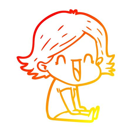 warm gradient line drawing of a cartoon happy woman